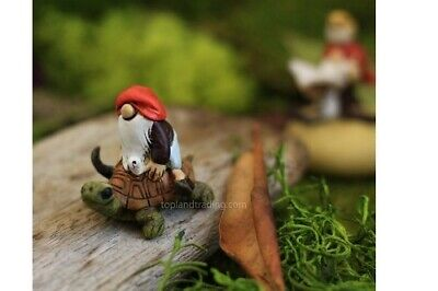"2"" My Fairy Gardens Mini Figure - Gnome Riding Turtle - Miniature Figurine Decor"