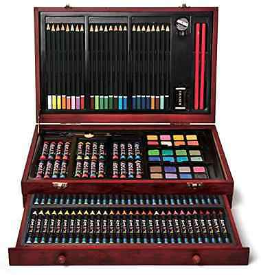 New Art Set 142 Piece Artist Kit Kids Adults Drawing Pencils Crayons Pastels New