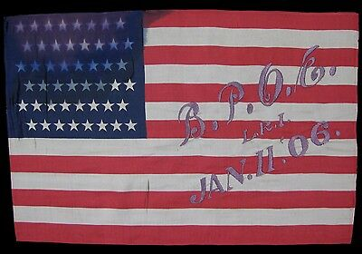 48 Star Antique US United States Flag Patriotic Folk Art Americana