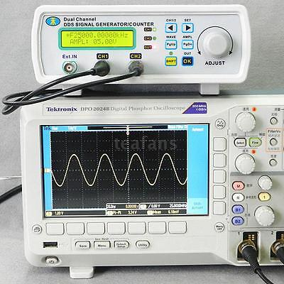 Digital DDS Dual-channel Signal Generator Source Frequency Meter Counter 25MHz