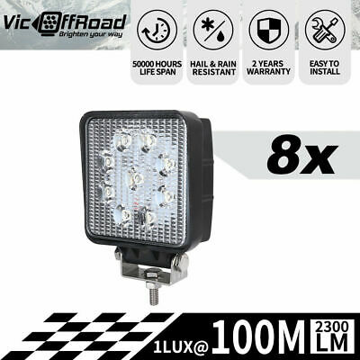 8PCS 27W Cree Flood LED Work Light Offroad Lamp Bar 12/24V 4x4 Offroad Square
