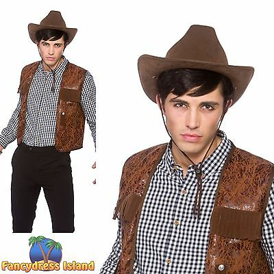 BROWN BUDGET COWBOY WAISTCOAT WILD WEST Adults Mens Ladies Fancy Dress Costume