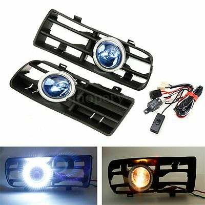 Blue LED Fog Lights Angel Eyes Lamp & Front Bumper Grille For VW Golf MK4 98-04