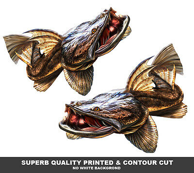 Flathead decals x 2 mirrored pair vinyl boat graphics fishing lure stickers