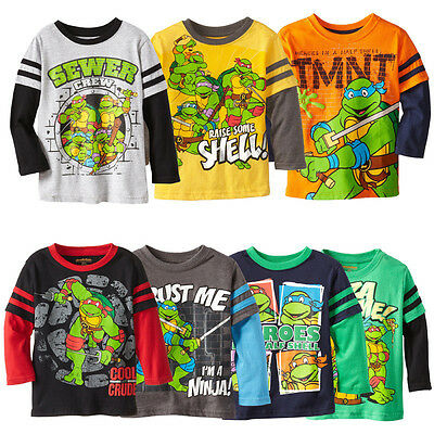 TMNT Children Kids Baby Boys Print Long sleeve Tops T-shirt Age 2~7Y