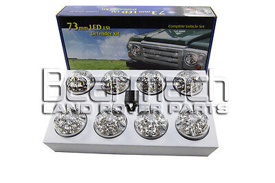 Ba-9718 73Mm Land Rover Defender Led Light Lights Clear Lamp Upgrade Kit