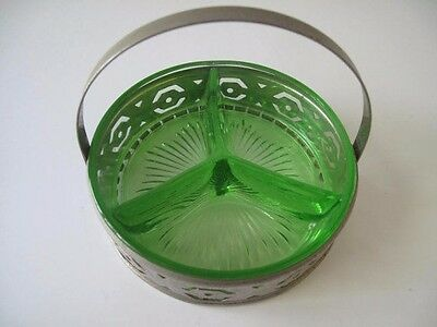 Green Depression Glass Divided Dish Silver-tone Caddy Mid Century Estate Item