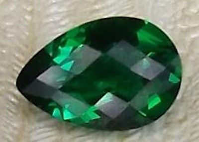 Lab Created Hydrothermal Emerald Green Pear Checkerboard Loose stone (6x4-18x13)
