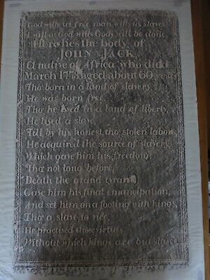 Grave Rubbing African Slave Concord Mass Folk Art Emancipation Death Poem