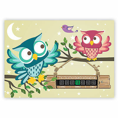 A5 Hoot the Owl Nursery, Baby and Childrens Room Thermometers