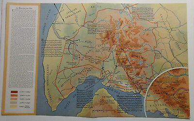 1935 Color Maps Mussolini in Ethiopia Strategic Points in Africa Britain Germany