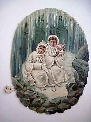 Vintage 1800's Antique Christmas Die Cut w/Two Girl Sitting on Porch Ice-cycles*