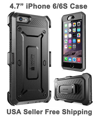 New Supcase For iPhone 6/6S Unicorn Beetle Full Body Rugged Holster Case Black