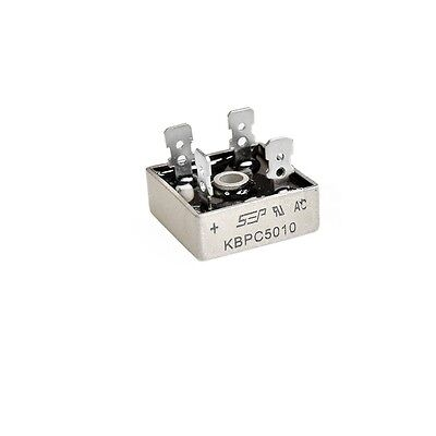 1pcs 50A 1000V Metal Case Single Phases Diode Bridge Rectifier KBPC5010