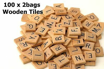 200 Wooden Scrabble Tiles Black Letters & Numbers For Crafts Wood