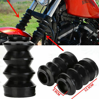 39mm Rubber Fork Cover Gaiters Gators Boots For Harley Sportster Dyna FX XL 883