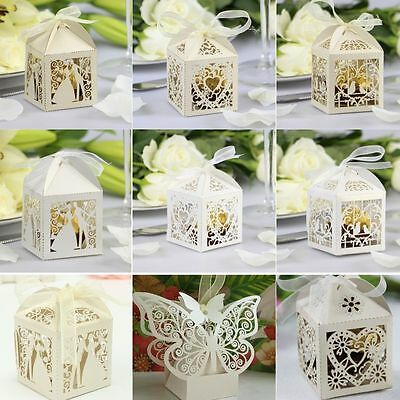 50/100PCS Luxury Wedding Party Sweets Cake Candy Gift Favour Favors Boxes
