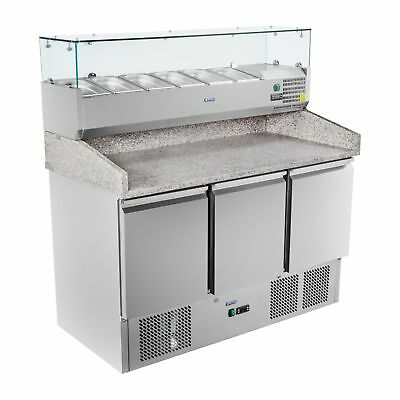 Refrigerated Saladette 3 Doors Food Display Pizza Prep Counter Granite Worktop