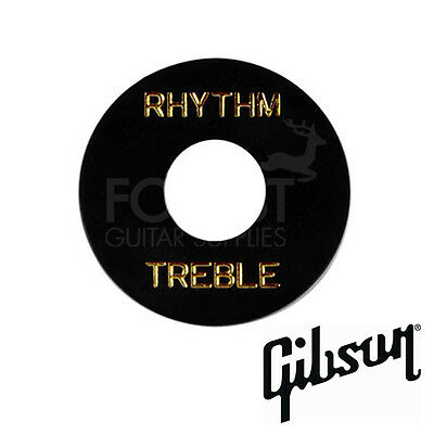 Genuine GIBSON toggle switch washer, black / gold letters
