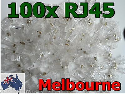 NEW 100x RJ45 CAT5e CAT5 CAT6 Modular Plug Network Connectors -MADE IN USA- MELB