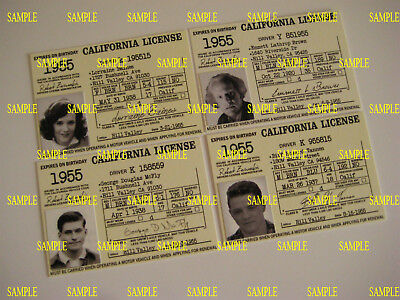 Back to the Future -Custom Made 1955 Driver's Licenses set of 4 - B3G1F