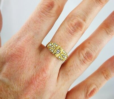 Antique Victorian 18ct Yellow Gold Pearl & Diamond Cluster Ring - 1883/Chester