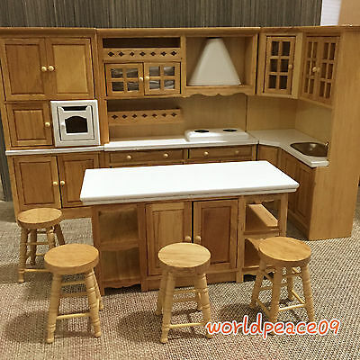 Dollhouse Miniature Burlywood Integrated Kitchen Furniture Set 1:12 Scale Model