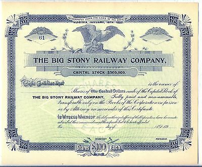 Big Stony Railway Company Stock Certificate Virginia Railroad Norfolk Western