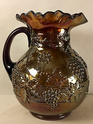 Dugan Floral & Grape Carnival Glass Pitcher Chocolate Amethyst ca 1915