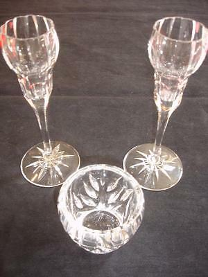 Pair Of Crystal Flute Candle Holders W/Clear Votive Holder Lot Of 3 Pcs BL1999
