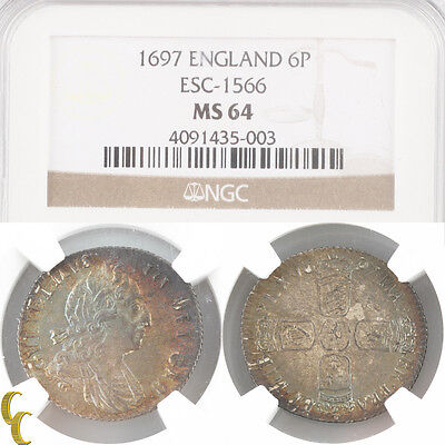 1697 Great Britain Six Pence MS64 NGC 3rd Bust Large Crown 6P ESC-1566 KM-496.1