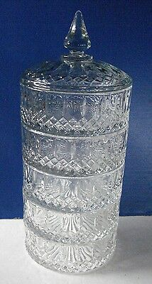 Vintage Indiana Glass Princess 5 Tier Stacking Candy Dish & Lid Wedding Buffet