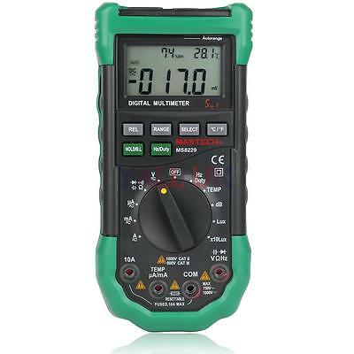 MASTECH MS8229 5-in-1 Auto Range Digital Multimeter DMM Lux Sound Humidity Test