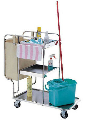 3 Shelf Janitor Cart with Bag Stainless Steel Restaurant Rubbish Collecting