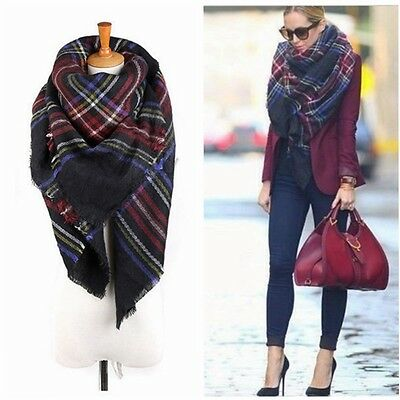 Vintage Wool Blanket Oversized Tartan Scarf Wrap Shawl Plaid Check Pashmina