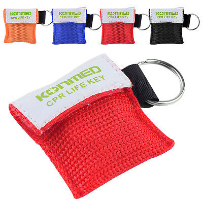 2/5/10Pcs Carriable Cpr Mask Emergency Face Shield First Aid Rescue+Keychain Bag