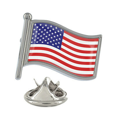 USA Wavy Flag Pin Badge American States Stars and Stripes New & Exclusive