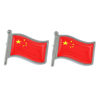 China Wavy Flag Cufflinks Boxed Chinese Country Beijing Shanghai New & Exclusive