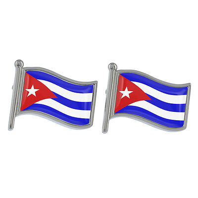 Cuba Wavy Flag Cufflinks Boxed Cuban Country Havana Caribbean New & Exclusive