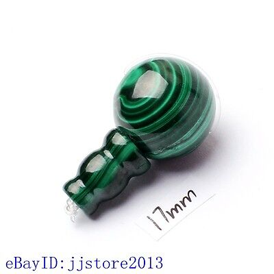 17mm Smooth Round Shape Natural Green Malachite Tibet Guru DIY Loose Beads 1 Set