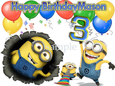 MINIONS Edible CAKE Decoration Image Icing Topper Frosting Sheet FREE SHIPPING