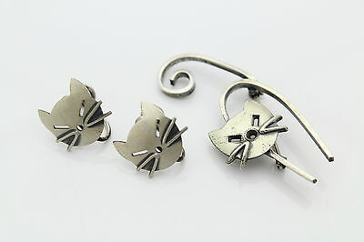 Vintage Sterling Silver MCM Abstract Cat Earrings & Brooch Set BEAU DANECRAFT