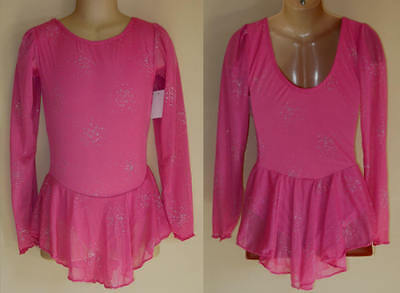 NWT 8y CHILD Ice Roller Skating Dress Pink Lycra Chiffon Dance Costume Leotard
