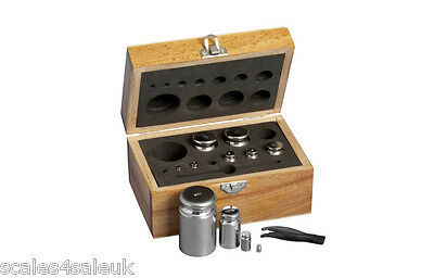 ON BALANCE 11 PIECE WOODEN BOX SET OF M2 CALIBRATION WEIGHTS (1g to 500g)