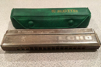 """Vintage M. Hohner Echo Harmonica with case, Made in Germany - Key of """"C"""""""