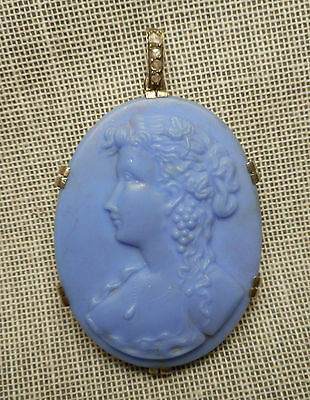 Antique Pendant - Blue Glass Lady Cameo in Silver Mounting w/ Diamond Bale