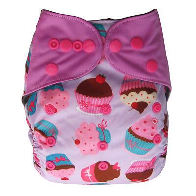 EcoAble Baby Charcoal Bamboo AIO All-In-One Cloth Diaper with Pocket, Cupcake