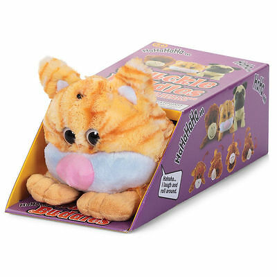 Chuckle Buddy Motion Sensor Activated Cat Soft Toy Rolling Laughing Pet - BROWN