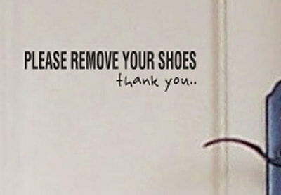 Please Remove Your Shoes Door Wall House Shop Sign Vinyl Lettering Decal Sticker
