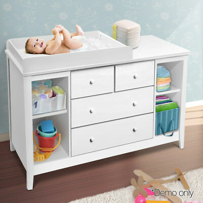 NEW Baby Change Table Dresser Nursery Chest  Cabinet 4 Drawers Shelves Melamine